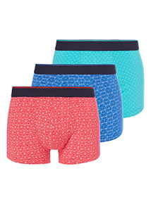 3 Pack Multicoloured Geometric Print Hipster Briefs
