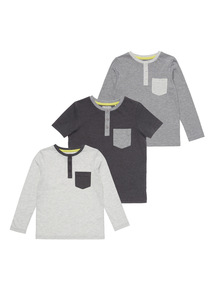 Grandad Mix Sleeve Tees 3 Pack (9 months - 6 years)