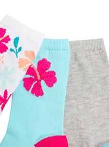 5 Pack Multicoloured Floral Ankle Socks (6 infant - 5.5 adult)