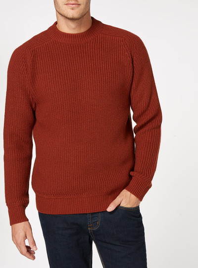 Brown Rust Ribbed Jumper