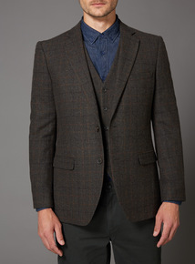 Brown Check Wool Mix Jacket
