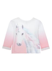 Girls White Unicorn Sweat (3-12 years)