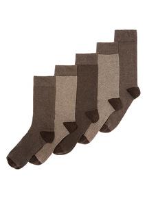 Brown 5 Pack Stripe Socks