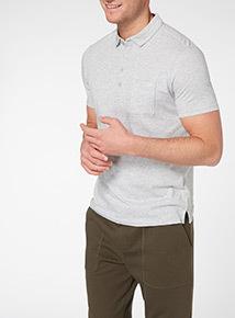 Light Grey Button Neck Polo