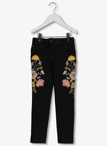 095db869a31 Black Embroidered Skinny Jeans With Stretch (3-14 years)