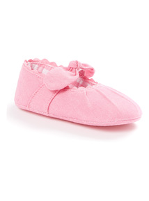 Pink Bow Shoes (0 - 12 months)