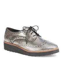 Silver Premium Leather Platform Brogue