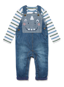 Denim Dinosaur Dungarees and Bodysuit Set (0-24 months)