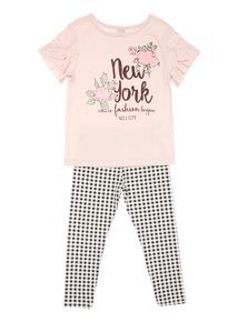 Pink New York Gingham Legging Set (3-14 years)