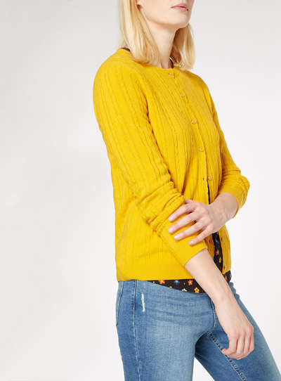 Yellow Cable Knit Cardigan