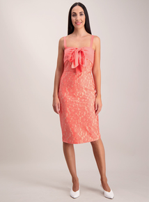 Coral Bow Front Lace Occasion Dress