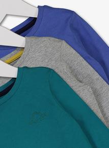 Multicoloured Dinosaur Motif Long Sleeve T-Shirt 4 Pack (12 Months - 6 Years)