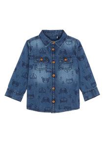 Boys Navy Fox Shirt (0-24 months)