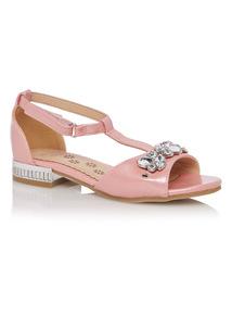 Girls Pink Bling Heeled Sandal