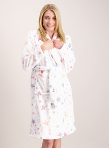 Cream Star Print Shimmer Dressing Gown
