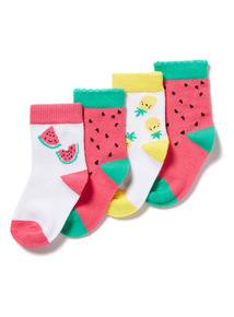 4 Pack Pink Fruit Socks (0-24 months)