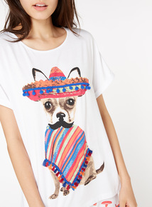Sombrero Dog Printed T-Shirt
