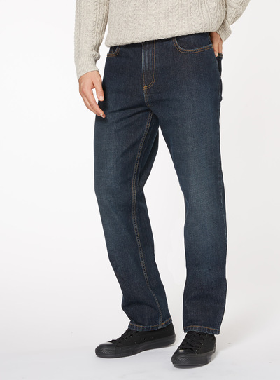 Mid Wash Denim Straight Jeans