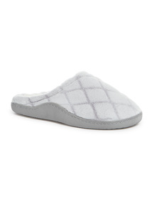 Grey Velour Quilted Slippers