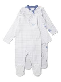 2 Pack Blue Cloud Print Zip Through Sleepsuits (0-24 months)