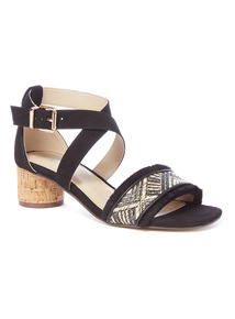 Black and Cork Weave Heeled Sandals