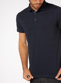 Navy Textured Stripe Polo Shirt
