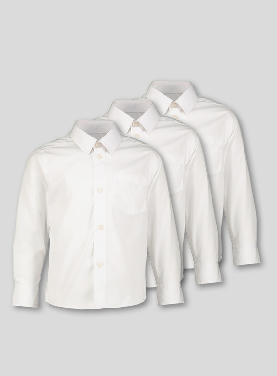 White Long-Sleeved School Shirts 3 Pack (3-16 years)