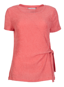 Pink Tie Side Textured Top