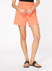 Coral Paperbag Waist Shorts