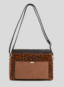 Leopard Print 3 Compartment Cross Body bag