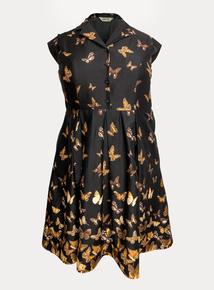 EMILY Black & Brown Taylor Retro Style Border Shirt Dress