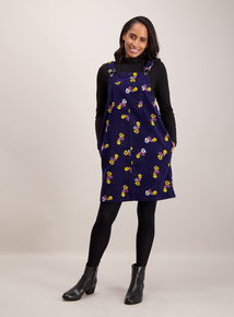 Navy Blue Floral Pinny Cord Dress