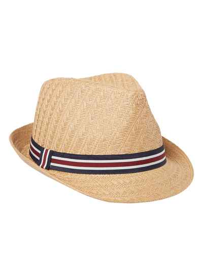 Oatmeal Textured Trilby with Stripe Band