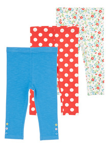 Girls Multicoloured Patterned Leggings 3 Pack (0-24 months)