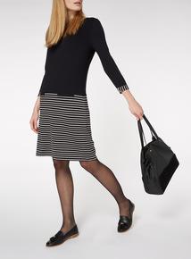 Black Striped Mock Knee Length Jersey Dress