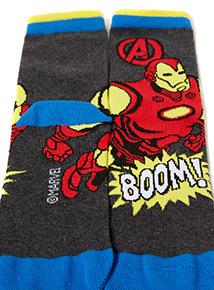 3 Pack Multicoloured Disney Marvel Avengers Socks (9 infant-6.5 adult)
