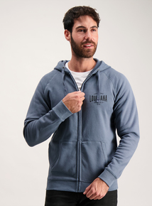 Petrol Blue Zip Through Hoodie