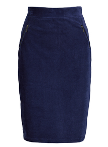 Navy Corduroy Knee Length Skirt
