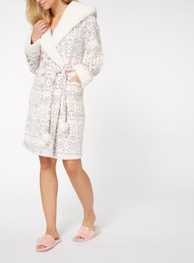 Fairisle Border Print Dressing Gown