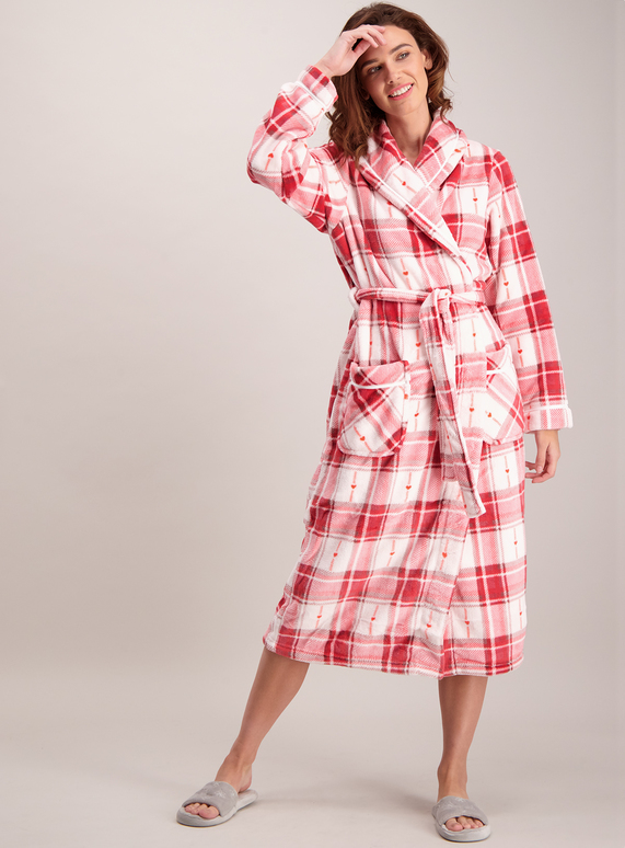 Womens Red Pink Check Longline Dressing Gown Tu Clothing