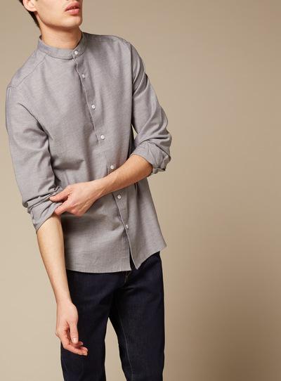 Premium Grey Twill Brushed Granddad Shirt