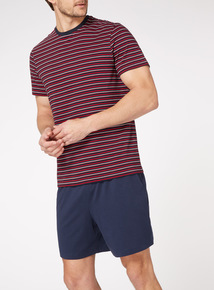 Navy and Red Stripe T-Shirt and Shorts Pyjamas