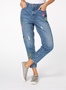 Mid Denim Embroidered Jeans