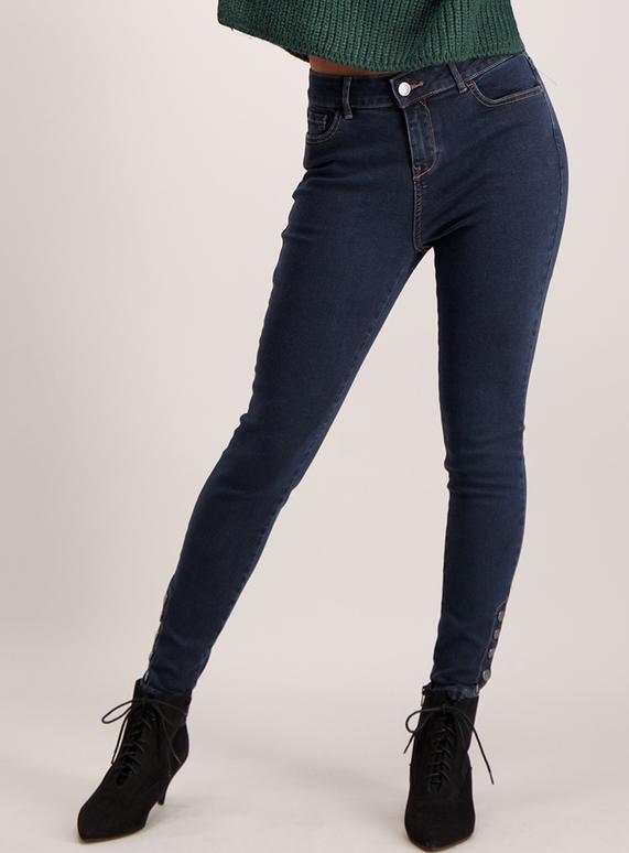 Dark Blue Denim Studded Skinny Jeans