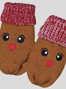 Christmas Brown Reindeer Mitt Gloves (2-12 Years)