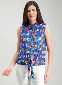 2cdf871b9ad5f Multicoloured Tie Front Top