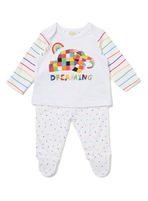 White Elmer Pyjamas (0-18 months)