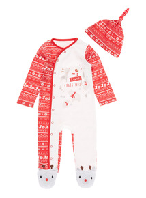 Red Christmas Sleepsuit & Hat (0-24 months)