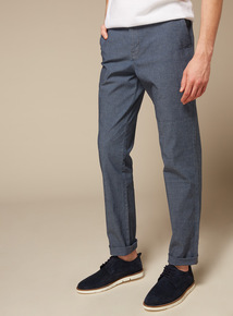 Premium Blue Chambray Straight Leg Chinos