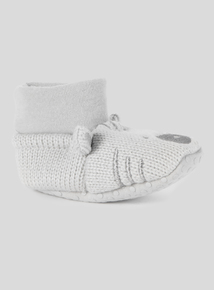 Grey Unisex Bear Knitted Booties (0 - 18 months)
